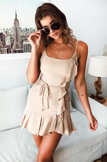 Never Let Go Dress - Beige