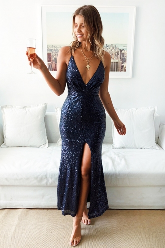 Evening Antics Dress - Navy Sequin