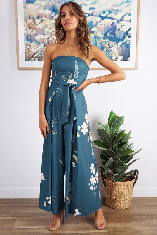 First Class Jumpsuit Teal Green Floral Stelly