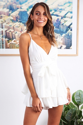 All Figured Out Playsuit - White