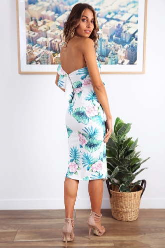 Close To Me Dress - White/Green Print