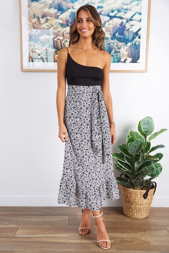 Prudence Maxi Skirt - White/Black
