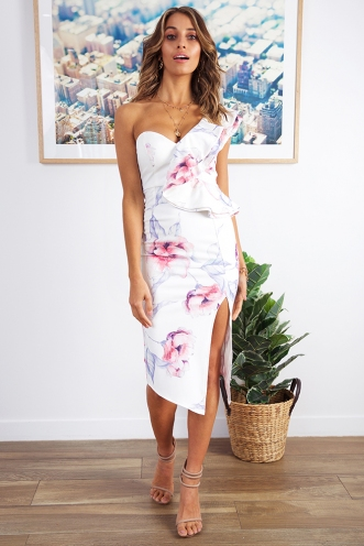 Close To Me Dress - White/Pink Print