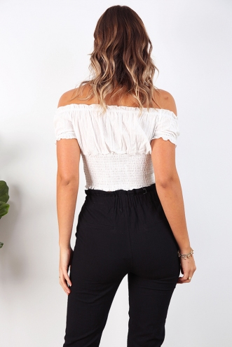 Heather Crop Top - White