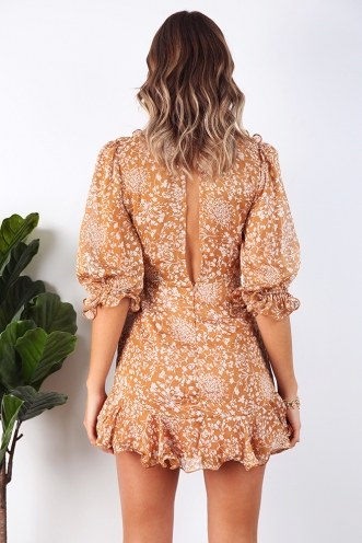 Lovesick Blues Dress - Brown Floral