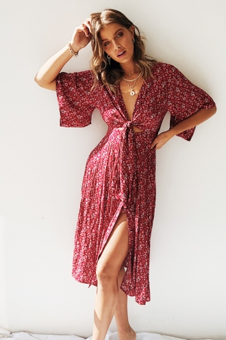 Boho Livin' Dress - Maroon Floral
