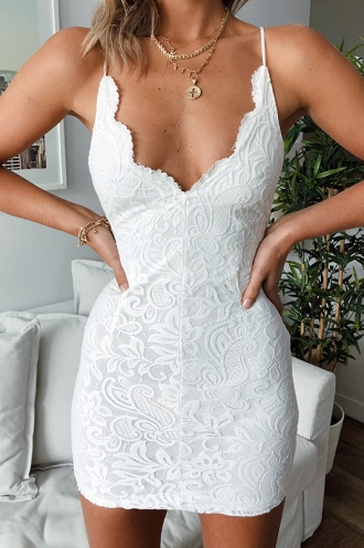 Foxy Velvet Dress - White Lace