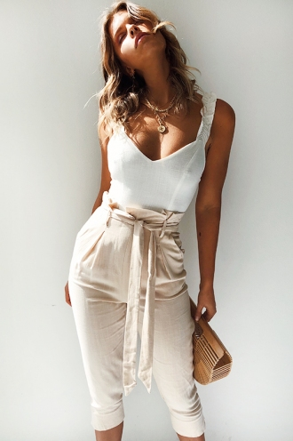 In the Beginning Jumpsuit - Beige/White