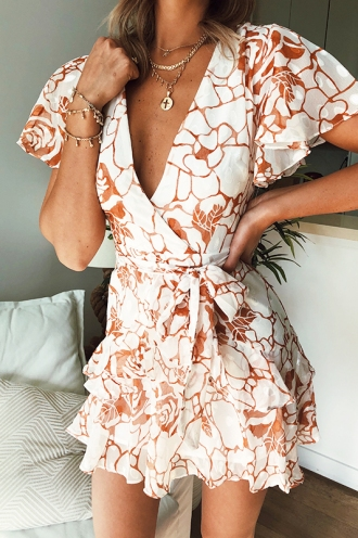 Fly With Me Dress - White/Orange Print