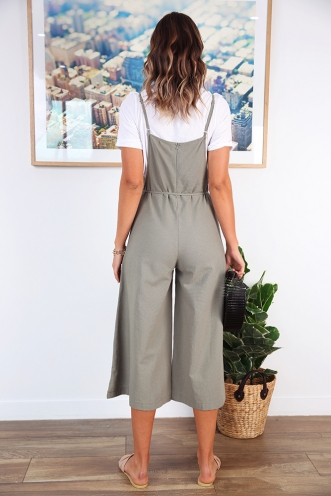 Real Talk Jumpsuit - Khaki
