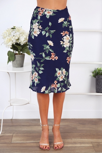 Rebel Just For Kicks Skirt - Navy Floral