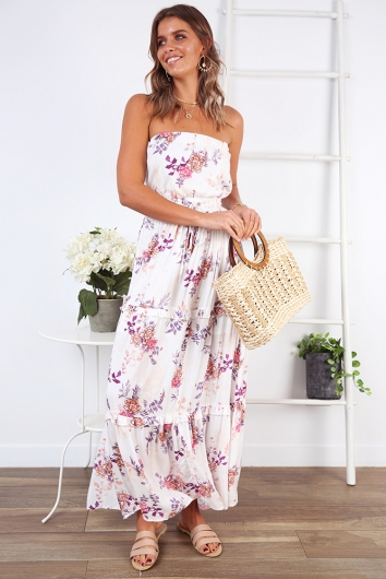 Real Talk Dress - White/Pink Floral