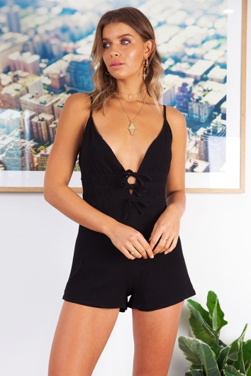 Out of Luck Playsuit - Black