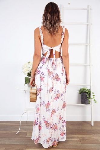 Mountain Peaks Dress - White/Pink Print
