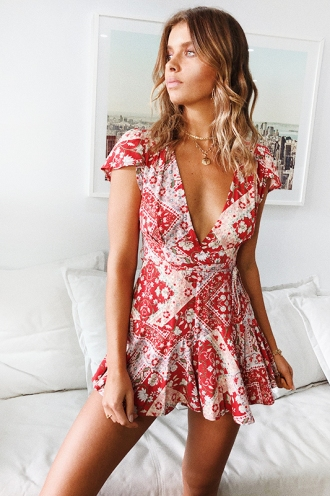 Laidback Playsuit - Red Print