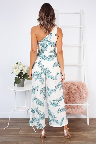 Underneath the Sunrise Jumpsuit - Natural Palm