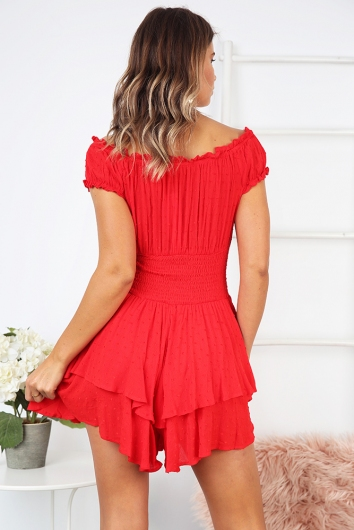 Mumbo Jumbo Playsuit - Red