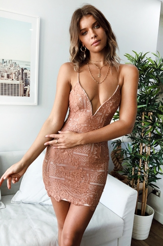 Maggy Mini Dress- Blush Lace
