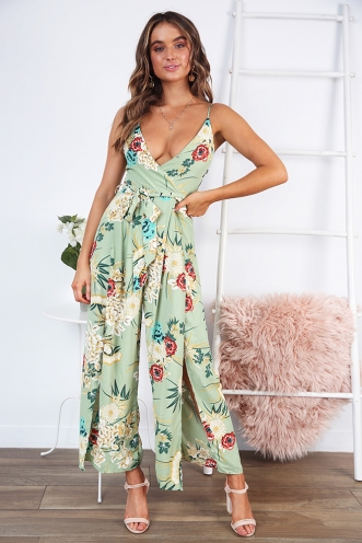 Exotic Destination Jumpsuit - Green Print