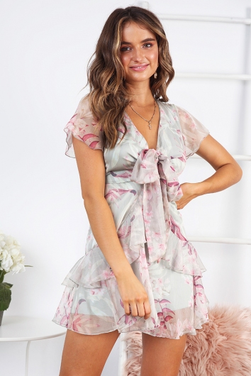 Calling Out Your Name Dress- Soft Green/ pink floral