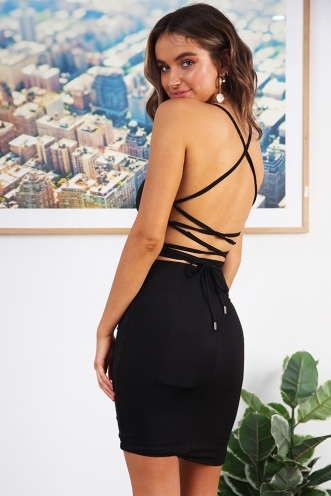 Sexy Back Dress- Black
