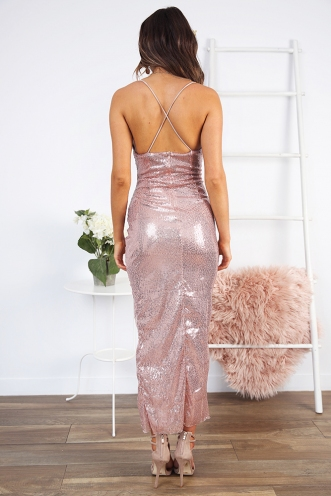Arlette Dress - Gold Sequin