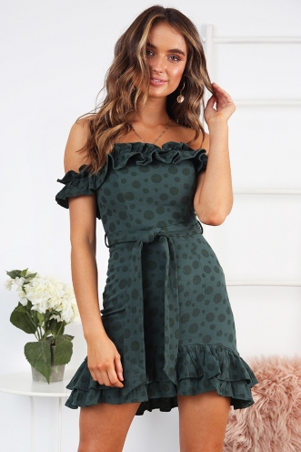 Molly Dress - Green Spot