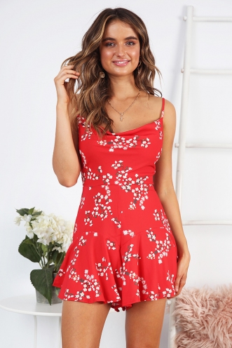 Sariana Playsuit - Red Print