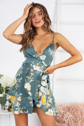 One Night Dress - Sage Floral