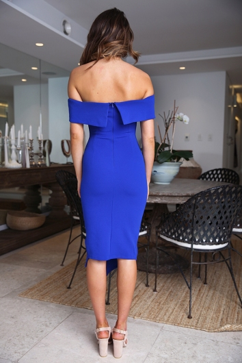Renata off the shoulder dress -COBALT BLUE