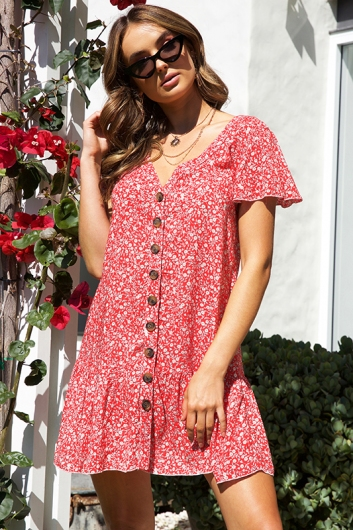 Rose Thorn Dress - Red Print