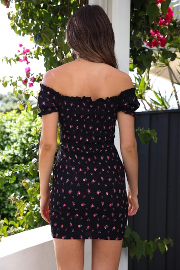Floral Boy And A Rose Dress - Black