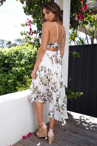 Risk It Dress - White Floral