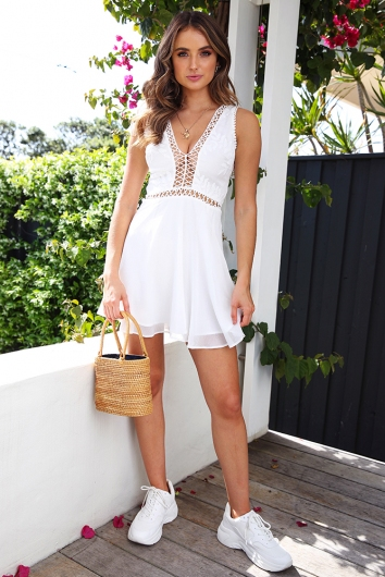 Made With Love Sleeveless Dress - White