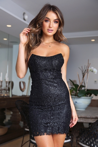 Boo Thang Dress - Black Glitter