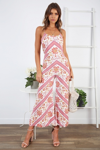 No Exceptions Jumpsuit - White / Red Print