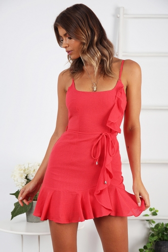 Never Let Go Dress- Coral