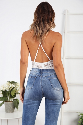 Courtney Lace Bodysuit - White
