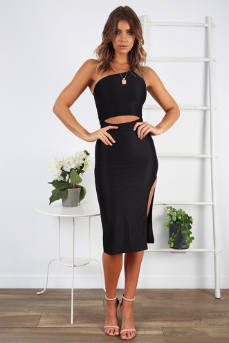 Danika One Shoulder Dress- Black