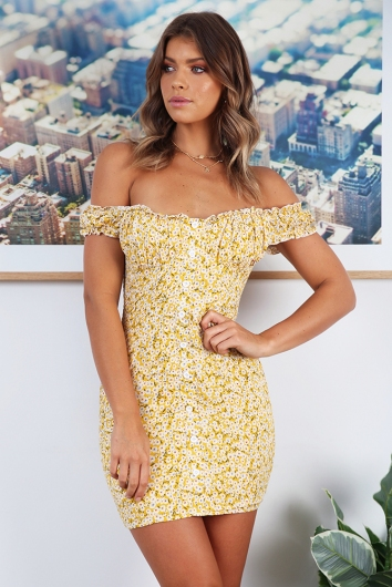 In The Summer Dress - Yellow Print - STELLY