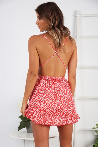 Book by the Pool Playsuit - Red Floral