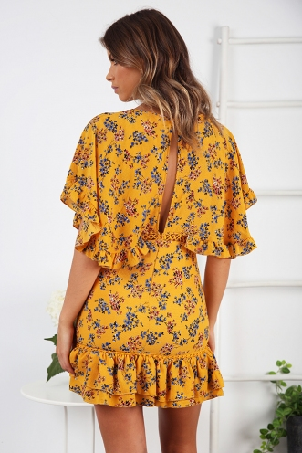 Tropical Spice Cupcakes Dress - Mustard Floral