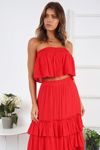 Senorita Crop Top - Red