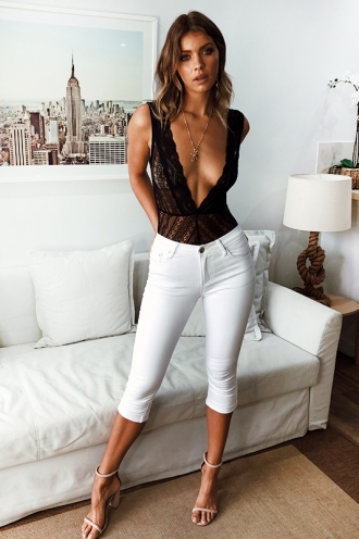 Demi Crop Jean - White
