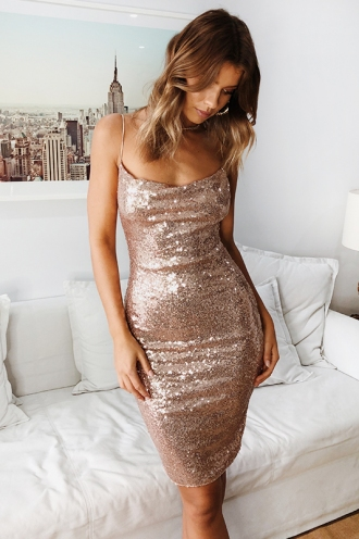 Janelle Dress - Gold Sequin