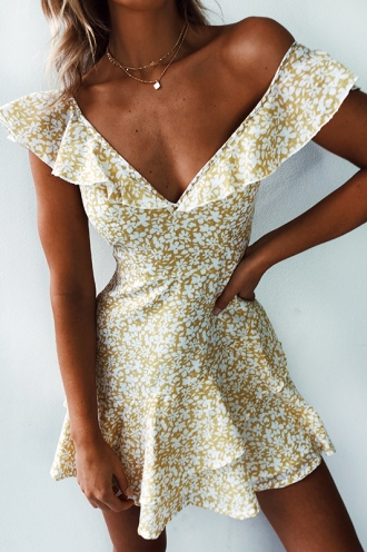 Cinamin Dress - Yellow/White
