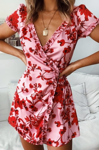 Kyoto Wrap Dress - Pink/Red Print
