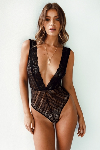 Aasha Bodysuit - Black Lace