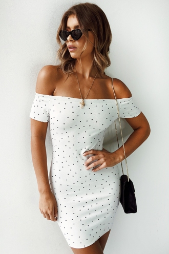 Tiffin Cake Dress - White Polka Dots