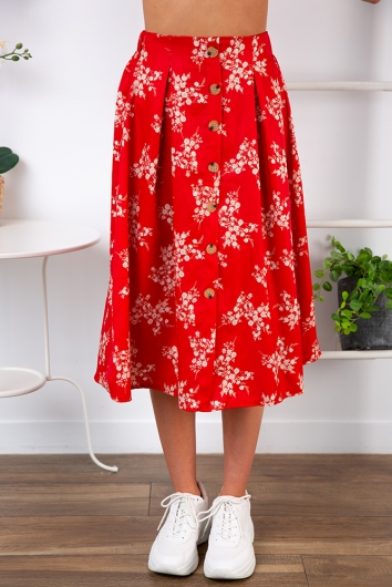 Market Day Skirt - Red Print